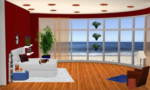 Ocean oasis with sleeping dog and levitating plants Digital Dollhouse