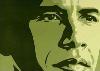 Cropped Obama Shepard Fairey poster green
