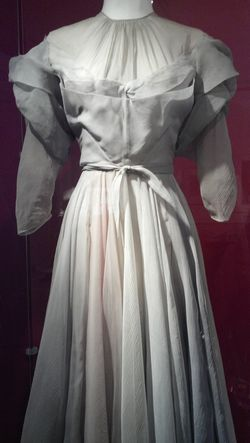 Multicolored pastel silk organza gown by Valentina, worn by Hepburn as Jamie Coe Rowan in Without Love [1942]; Kent State University Museum, KSUM 2010.12.62, Gift of the Estate of Katharine Hepburn.