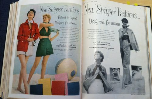 Harper's Bazaar 1949 ad New Stripper Fashions